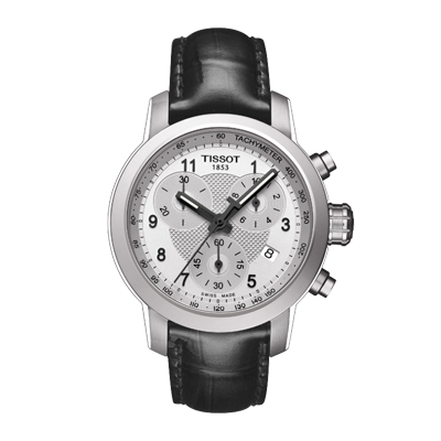 TISSOT PRC 200 QUARTZ CHRONOGRAPH LADY  - Reloj para dama, Cristal de zafiro, números arabigos, calendario, cronógrafo, pulso cuero negro