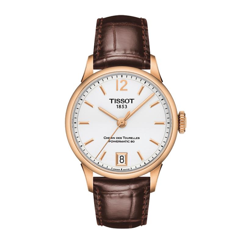 Reloj para Dama, blanco, index + arabigo, pulso cuero cafe