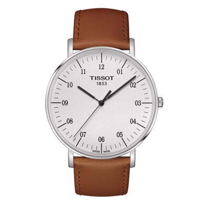 Reloj para Hombre, tablero redondo, silver, arabigo, analogo, pulso cuero cafe