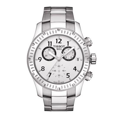 Reloj Tissot analogo, para Hombre, tablero redondo color plateado, estilo arabigos, pulso metalico color plateado, calendario, cronografo