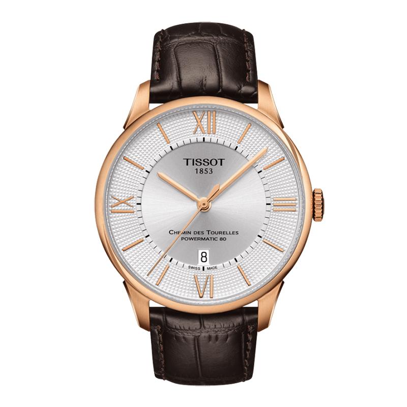 Reloj para Hombre, silver, index + romano, pulso cuero cafe