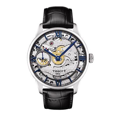 Reloj para Hombre, tablero redondo, silver, index + romano, analogo, pulso cuero negro