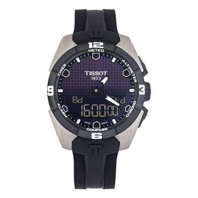 Reloj Tissot analogo y digital, para Hombre, tablero redondo color negro, estilo index, pulso silicona color negro, cronografo