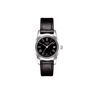 Reloj Tissot analogo, para Dama, tablero redondo color negro, estilo romanos, pulso cuero color negro, calendario