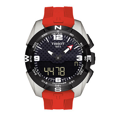 Reloj Tissot analogo y digital, para Hombre, tablero redondo color negro, estilo index + arabigo, pulso silicona color rojo, calendario, cronografo