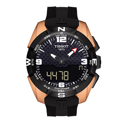 Reloj Tissot analogo, para Hombre, tablero redondo color negro, estilo index + arabigo, pulso silicona color negro, calendario