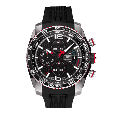 Reloj para Hombre, tablero redondo, negro, index + arabigo, analogo, pulso silicona metalico, cronografo