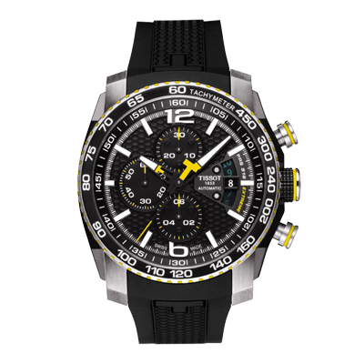 TISSOT PRS 516 EXTREME AUTOMATIC CHRONOGRAPH, Reloj para hombre, automatico, tablero redondo negro, pulso silicona negro, cronógrafo.
