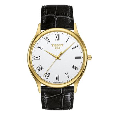 Reloj Tissot analogo, para Hombre, tablero redondo color blanco, estilo romanos, pulso cuero color negro