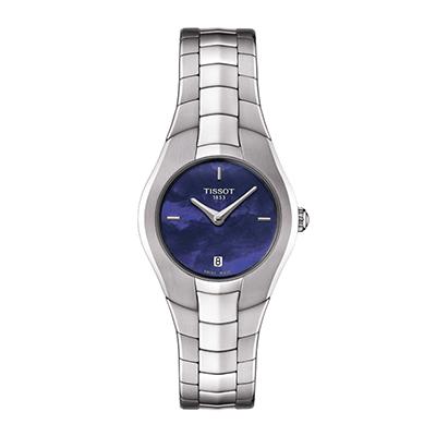Reloj Tissot para Dama, tablero redondo azul, análogo, pulso metálico plateado, calendario.