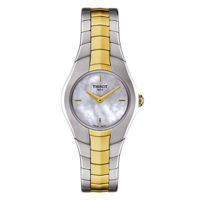 Reloj Tissot para Dama, tablero redondo madreperla, análogo, pulso metálico bicolor, calendario.
