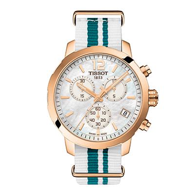 Reloj Tissot analogo, para Dama, tablero cuadrado colores blanco y rosa, estilo index + arabigo, pulso lona colores blanco y azul