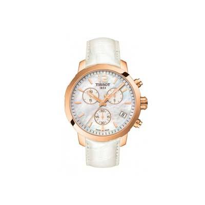Reloj Tissot analogo, para Dama, tablero redondo colores gris y rosa, estilo index + arabigo, pulso cuero color blanco, calendario