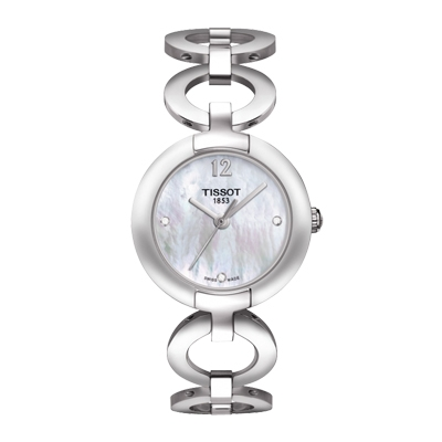 Reloj para Dama, tablero redondo, madreperla, puntos + arabigo, analogo, pulso metalico metalico