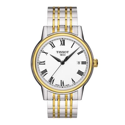 TISSOT CARSON QUARTZ GENT, Reloj  para Hombre, cristal de zafiro, tablero redondo blanco, indicadores con números romanos, análogo, pulso metálico bicolor, calendario.