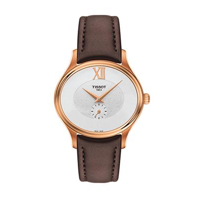 Reloj para Dama, tablero ovalado, blanco, sin numeros, analogo, pulso cuero cafe