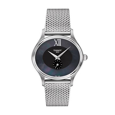Reloj Tissot analogo, para Dama, tablero ovalado color negro, estilo sin numeros, pulso metalico color plateado