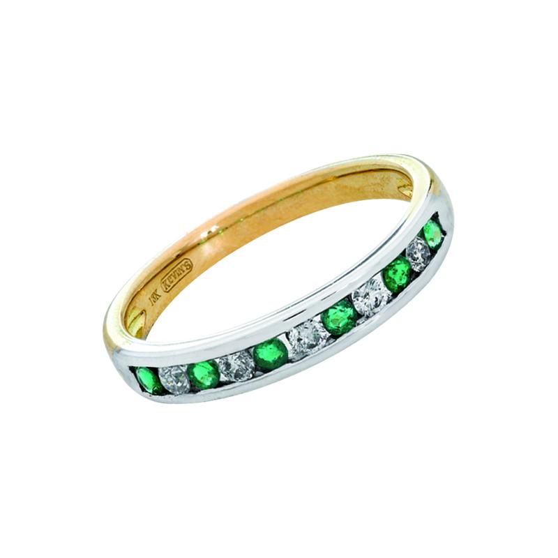 0112709024 - Anillo en oro amarillo de 18 kilates, con esmeraldas de 0.17 ct y diamantes de 0.13 ct