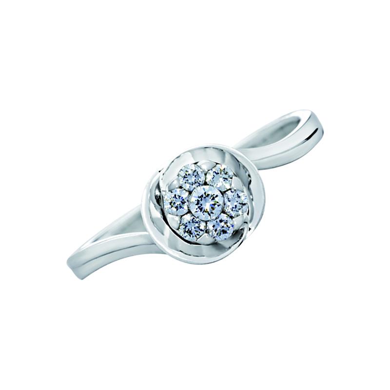 0121707016 - Anillo compromiso en oro blanco de 18 kilates, con 7 diamantes centrales de 0.15 ct, de la coleccion flores para ti