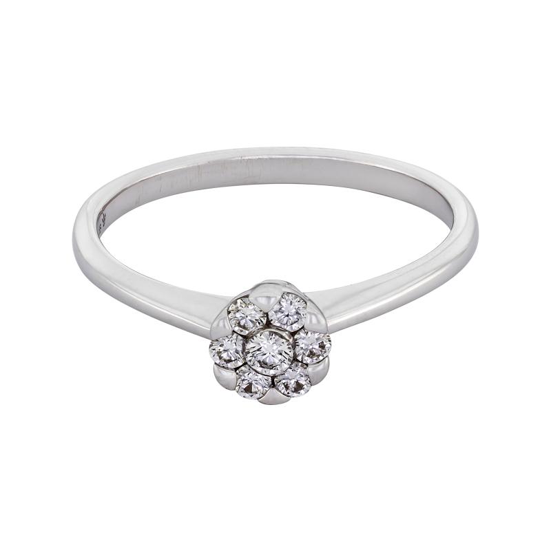 012173J022 - Anillo compromiso en oro blanco de 18 kilates, con 7 diamantes centrales de 0.20 ct, 2 mm. de ancho, de la coleccion flores para ti