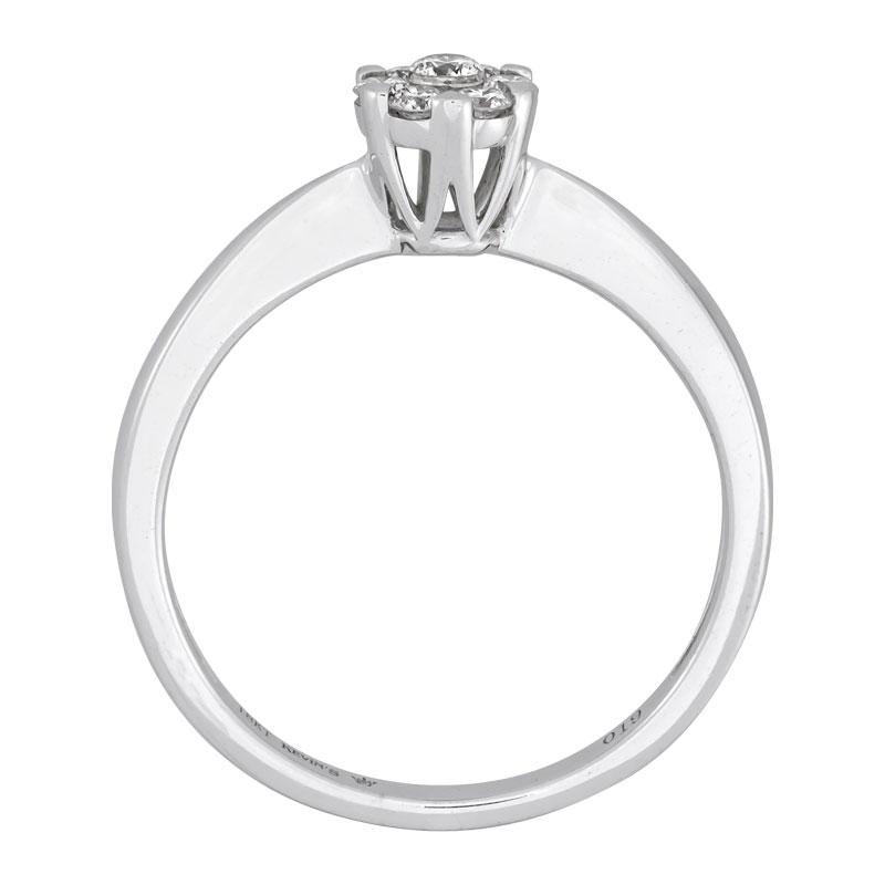 012174L026 - Anillo compromiso en oro blanco de 18 kilates, con 7 diamantes centrales de 0.20 ct, de la coleccion flores para ti
