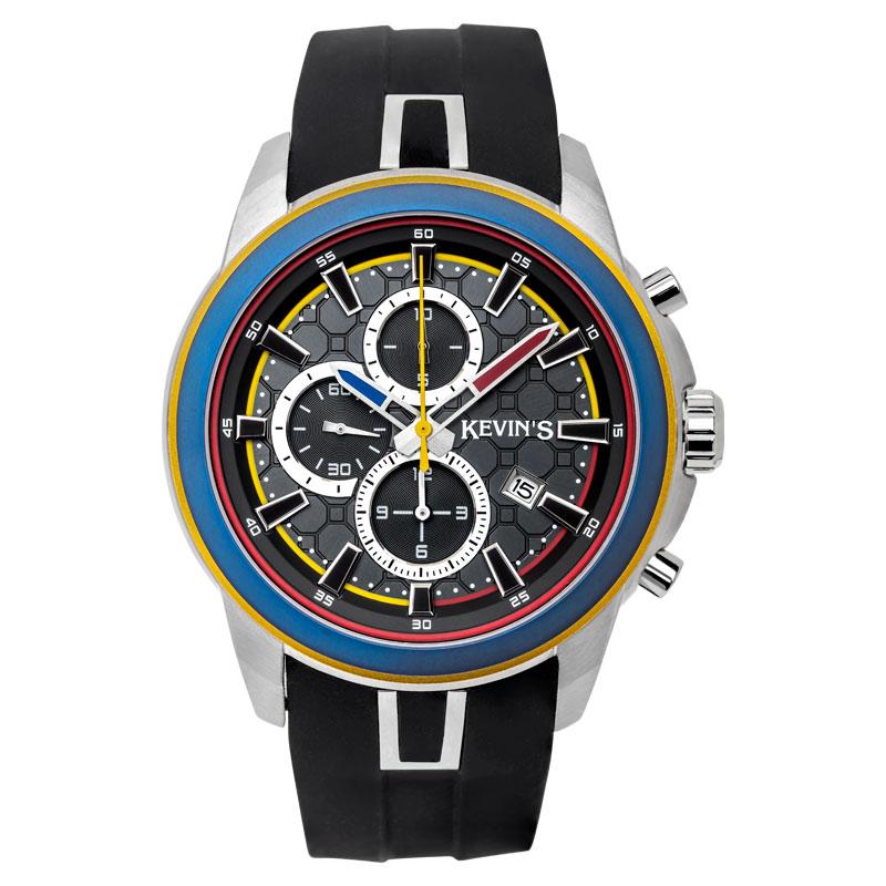 8706000602 - Reloj kevins metalico analogo, para hombre, tablero redondo colores negro, amarillo, azul y rojo, estilo index, pulso silicona color negro, calendario, cronografo